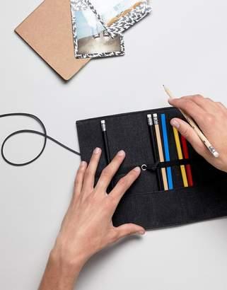 Asos DESIGN Pencil Case In Gray Canvas