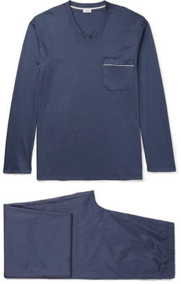 Zimmerli Mercerised Cotton-Jersey Pyjama Set - Navy
