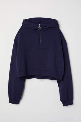 H&M Short Hooded Sweatshirt - Blue