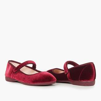 Girls' Childrenchic® Mary Janes in burgundy velvet