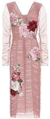 Dolce & Gabbana Floral-embroidered tulle dress