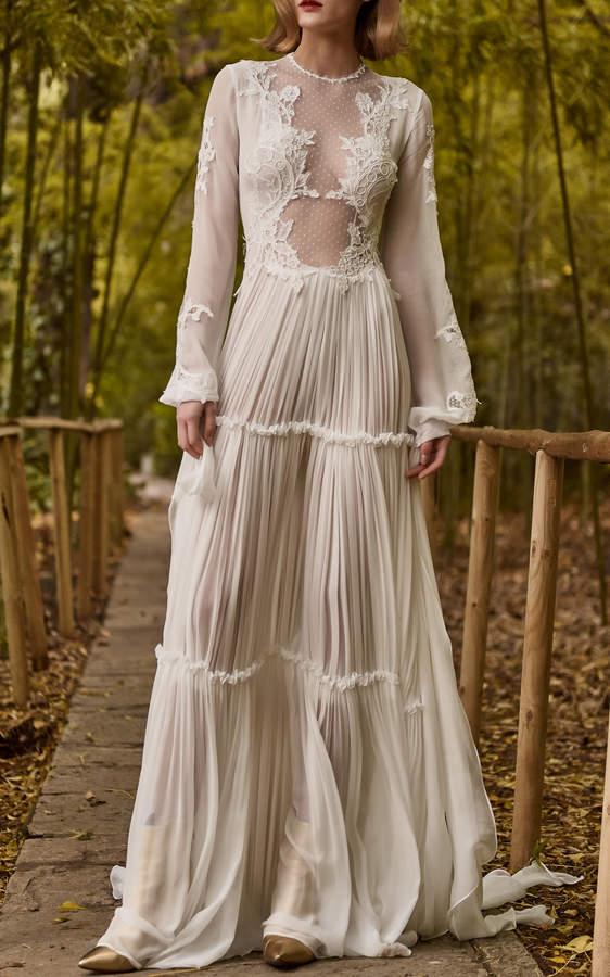Costarellos Bridal Silk Chiffon Tiered Dress