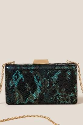 francesca's Debbie Faux Snake Hard Case Clutch - Emerald
