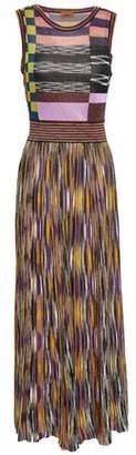 Missoni Gathered Metallic Crochet-knit Midi Dress