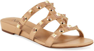 Neiman Marcus Buzzy Studded Flat Slide Sandals Nude