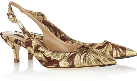 Dolce & Gabbana Metallic brocade slingbacks