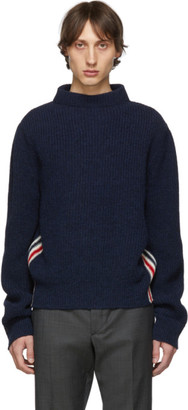 Thom Browne Navy Boat Neck Sweater