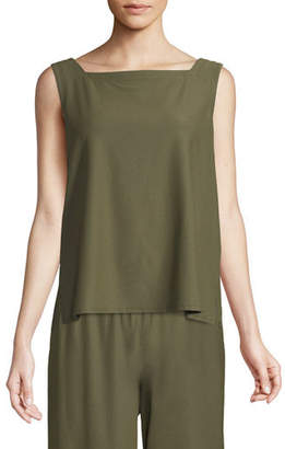 Eileen Fisher Sleeveless Square-Neck Crepe Shell