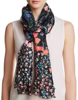 Kate Spade Blossom Floral Print Silk Oblong Scarf