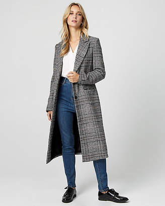 Le Château Glen Check Wool Blend Notch Collar Coat