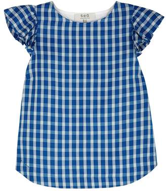 Sea Gingham Lace-up Back Top