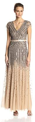 Adrianna Papell Women's Long Beaded V-Neck Dress with Cap Sleeves and Waistband,4