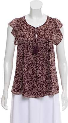 Rebecca Minkoff Animal Print Ruffle-Accented Top