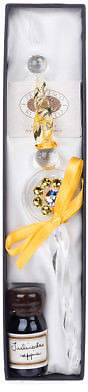 Swarovski NEW Rubinato Yellow Glass Pen w/ Sepia Ink & Crystal