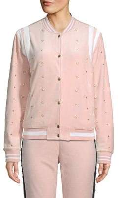Faux Pearl-Embellished Velour Bomber Jacket