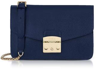 Furla Deep Blue Lizard Printed Leather Metropolis Small Shoulder Bag