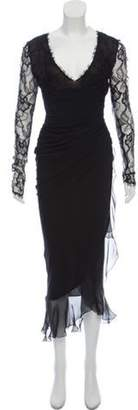 Ungaro Ruched Lace Dress Black Ruched Lace Dress