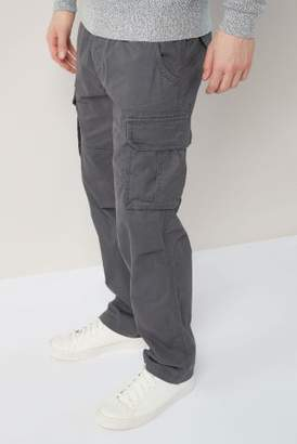 Next Mens Charcoal Laundered Cargo Trousers