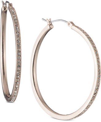 DKNY Rose Gold-Tone Pave Large Hoop Earrings, Created for Macy's