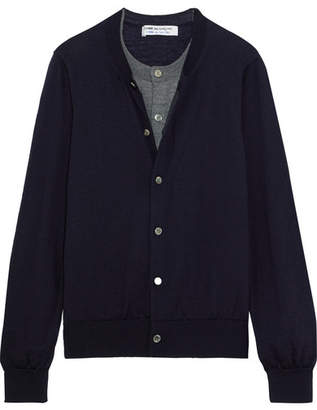 Comme des Garcons Layered Wool Cardigan - Navy