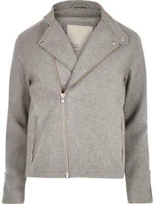 River Island Grey RVLT wool-blend biker jacket