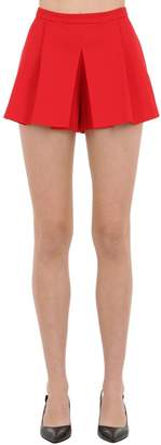 RED Valentino PLEATED COTTON SHORTS