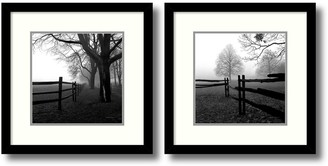 Amanti Art ''Corner Fence in the Mist'' Tree 2-piece Framed Wall Art Set