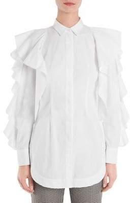 Sara Battaglia Ruffle Sleeve Blouse