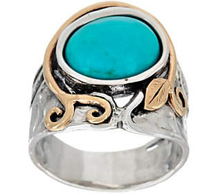 Or Paz Sterling Silver &14K Gold Oval TurquoiseRing