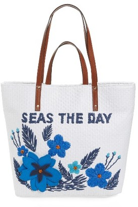 Tommy Bahama Athen - Seas The Day Embroidered Straw Tote - Blue $128 thestylecure.com