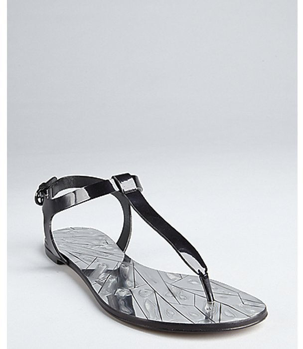 Casadei black patent leather mirrored t-strap thong sandals
