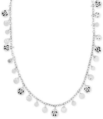 """Lois Hill Filigree Dangle Disc 15"""" Collar Necklace in Sterling Silver"""