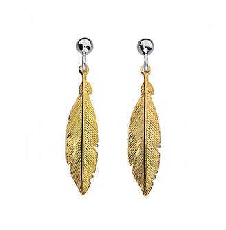 House of Fraser Azendi Sterling Silver18ct Vermeil Feather Earrings