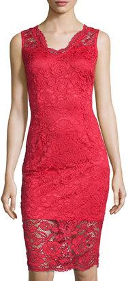 Marina Lace Sleeveless Sheath Dress, Red $86 thestylecure.com