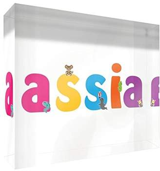 clear Little Helper Souvenir Decorative Polished Acrylic Diamond Style Example Girl/The Name of Colourful Assia 14.8 x 21 x 2 cm Large