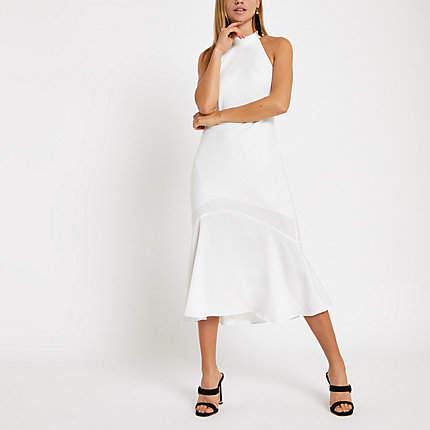 Womens White halter neck midi dress