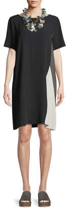 Eileen Fisher Silk Georgette Colorblock Short-Sleeve Dress