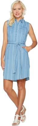 Isaac Mizrahi Live! TRUE DENIM Vertical Stripe Shirt Dress