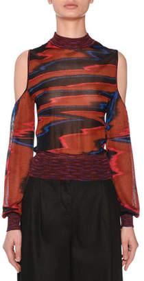 Missoni Cold-Shoulder Long-Sleeve Space-Dye Top