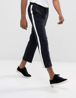 Asos Straight Crop Smart Trousers In Navy With White Side Stripe