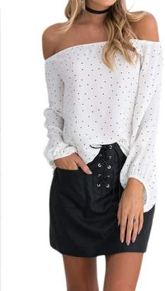 cc550e8fc0614 Mupoduvos Women Long Sleeve Off Shoulder Boat Neck Polka Dot Blouse Chiffon  Shirt Top Tee M