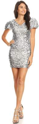 Anna-Kaci Womens Sexy Short Sleeve Sequin Bodycon Mini Cocktail Party Club Dress
