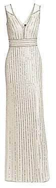 Jenny Packham Women's Sequin Beaded Column Gown