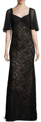 La Femme Lace Sweetheart Cape Gown, Black/Nude $498 thestylecure.com