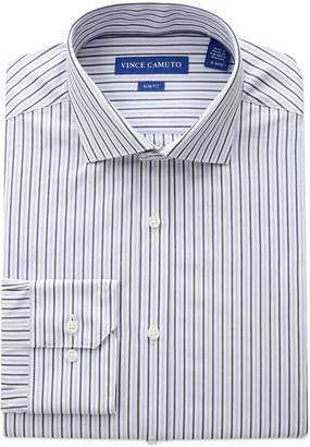 Vince Camuto Men's Slim Fit Classic Striped Dress Shirt, White/Blue