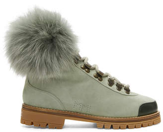 Mr & Mrs Italy Green Suede Shearling Boots