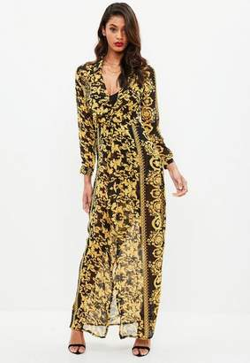 Missguided Black Chain Print Maxi Dress