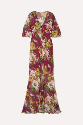 Olivia von Halle Delphine Floral-print Silk-georgette Maxi Dress - Claret