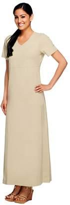 Denim & Co. Short Sleeve V-Neck Empire Waist Maxi Dress