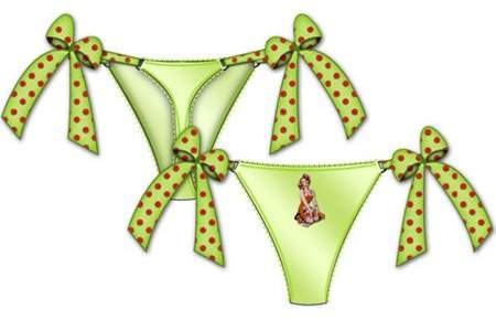 Rene Rofe Centerfold Side Bow Thong Small Green